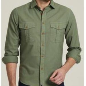 Casual men's olive green button down shirt